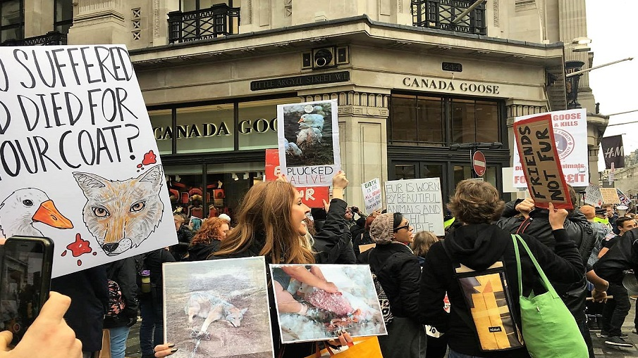 Hundreds of Animal Rights Activists Protested Outside Canada Goose's First UK Flagship Store